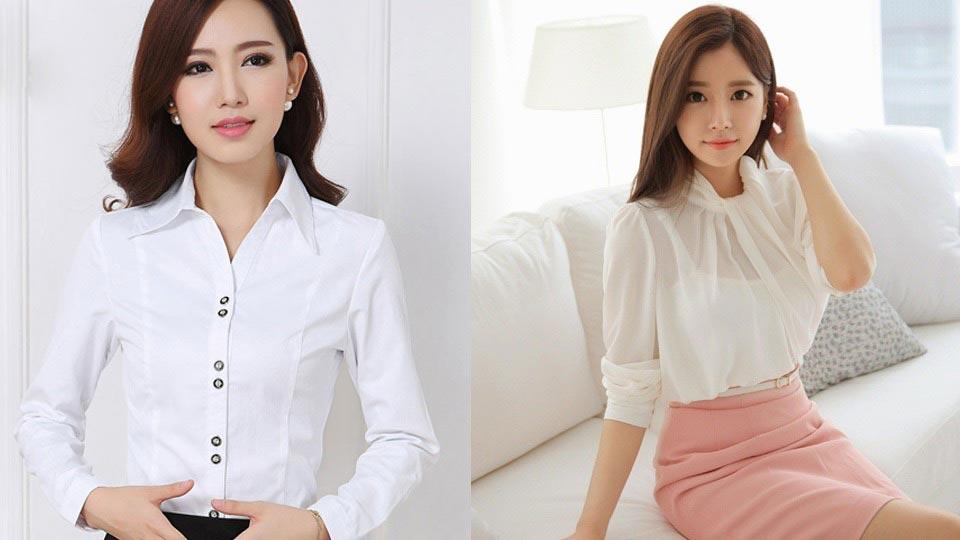 áo sơ mi nữ trắng cách điệu