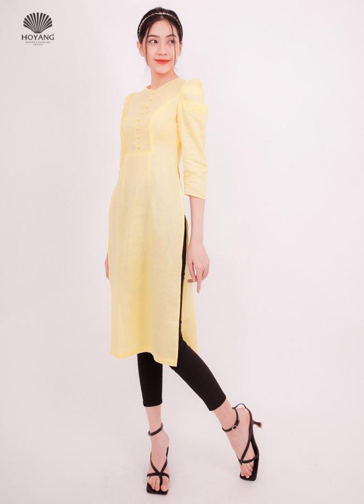 áo dài cách tân vàng