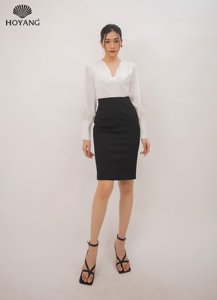áo công sở đẹp màu trắng tay dài cổ v