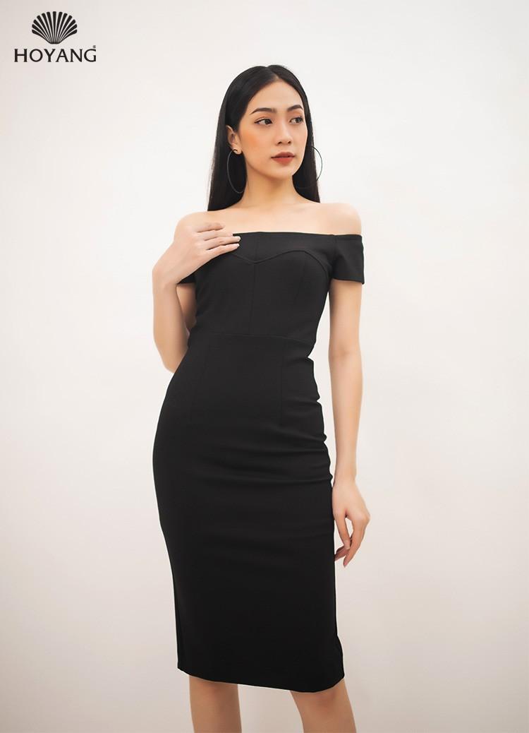đầm body nữ trễ vai đen